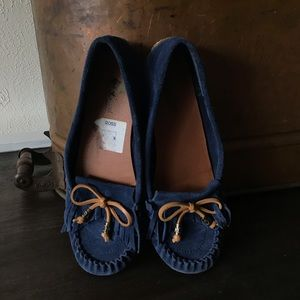 e1940c4be02 Lucky Brand Blue Suede Moccasin Flats Navy Blue